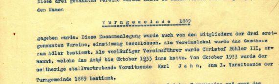 """""""Zusammenlegung"""" der Turnvereine unter dem Namen Turngemeinde 1889 Sandhausen"""